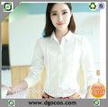 el otoño nuevo diseño de algodón de manga larga mujer elegante señoras blusas blancas para la oficina