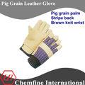 Pig grain paume, stripe, poignet en tricot brun grain de porc en cuir gants de travail