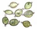 Natural de pedras preciosas prenite forma livre moldura prata conectores de lotes por atacado de pedra facetada conectores, a