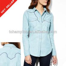 ( # tg534sh) 2013 no- tramo de cambray terminado nuevo modelo camisas de mezclilla para la mujer