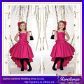 Venta caliente trasero largo corto delantero rosado spaghetti straps vestidos de noche lindo para los niños (ZX140)