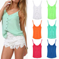 2014 primavera las mujeres blusa de color caramelo camisas de señora sexy blusa de gasa correa spagetti chaleco tapas 6539 xxxl