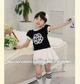 2014 caliente vender verano vestidos de niña blanca/negro neto de algodón velo de flor de ropa de niños
