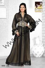 Exclusivo color negro georgette de imitación de estilo moderno farasha takchita kaftan caftán snm 232-