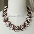 Nueva llegada abastecido el precio más barato collar de la joyería, de color ámbar apilados con collar de cristal