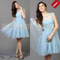 CY62707A hasta la rodilla con cuentas de imágenes de vestir mujer color azul oscuro corto vestido de cóctel