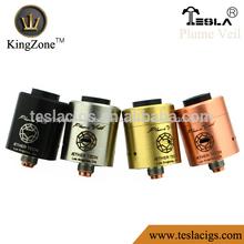 Negro/ss/de latón/cobre rda goteo atomizador teslas penacho velo atomizador kingzone procuced