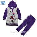 ( fg4646) 4-9y heather grey chicas jóvenes boutique de ropa conjunto cáscara de invierno con capucha bebé conjunto