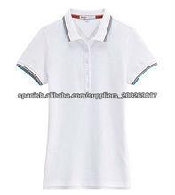 mujeres algodón piqué blanco polo t-shirt