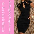 o mais recente estilo atacado moda mulher negra keyholes gravado vestido vintage