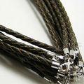 fabricante de joyería collar de cordón de cuero de moda eather collar de cordón con broches de plata de ley