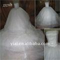 jj2593 la cola muy larga hinchada de tul blanco vestido de novia de piedras de cristal
