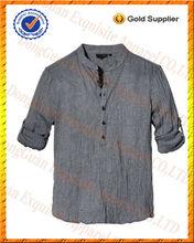 100% ropa de la mitad de abertura de la manga del rodillo de la moda occidental camisas y camisetas informales para los hombres