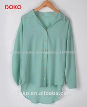 2014 moda blusa de cuello de la camisa de manga larga