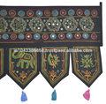 Indio étnico bordado a mano el trabajo del espejo de la puerta tapiz, mayorista de algodón tapices de la puerta
