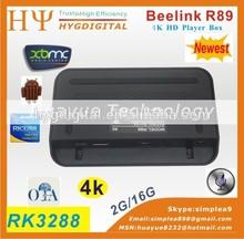 Beelink r89 2g 16g nueva llegada de tv por internet caja r89 rk3288 4kx2k apoyo pre- instalación de xbmc android tv box