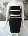 en blanco y negro vestidos de fiesta para las mujeres repuestos para vehículos del vestido del vendaje de cóctel HL458
