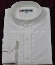 de algodón de lino camisa de vestir stand camisa de color blanco