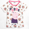 Manga curta americano e europeu criança roupas de marca caricatura Peppa série porco t-shirt floral preço baixo