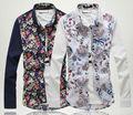 hombres de moda deimpresión de la flor camisas de mangas largas
