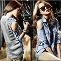 señoras sexy parte superior del hombro de costura de dril de algodón de gasa rayas camisas y blusas mujeres modernas 12743