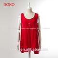 2014 nueva llegada dk. De color rojo o de- el cuello sin mangas vestido de dama de algodón de diseño