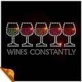 personnalisée bling coloré verre de vin hot fix strass transferts