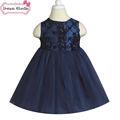 Vestidos de flores niña azul real flor color de rosa vestido de lujo 2-4y niños vestido de traje