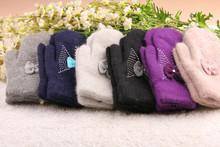 venta al por mayor nuevo damas de invierno de piel de conejo con guantes de arco