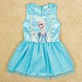 fanshou 2014 crianças roupas congelados sem mangas impressão meninas dos desenhos animados crianças vestidos de princesa 6017