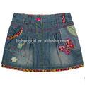 M2699# 2/6y azul bebé niñas falda de mezclilla con apliques de falda de jean