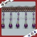 Purple frisada cortina artesanal pérola guarnições, talão de franja frisada, usado para , lâmpada, têxteis-lar acessório