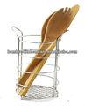cocina utensile titular con el servidor de madera