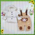 veludo grosso do bebê de duas peças de macaco com capuz bebê calças terno/infantil vestido de terno