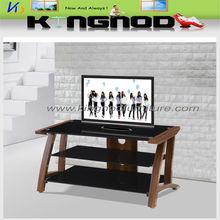 black vidro temperado mdf com papel de tv stand