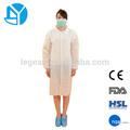 Tecido médicos descartáveis não tecidos batas hospitalares jaleco com algemas