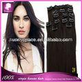 fasion venta al por mayor negro natural de malasia recta clip en extensiones de cabello negro para las mujeres