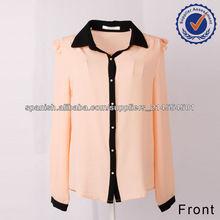 2013 nueva moda manga larga blusa de gasa