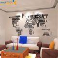 ZY95AB ZooYoo Original XXL 190 * 116 cm carte du monde pour apprendre étude/Art mots dictons vinyle Wall Decals