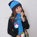 De punto sombrero y bufanda conjunto( azul)