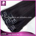 Mejor venta de 100% brasileña humanos clip en extensiones de cabello negro para las mujeres