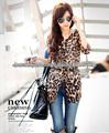 Gasa de las mujeres Tops señoras del leopardo mangas media diseños blusa larga Camiseta con cinturón