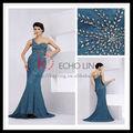 Uno- el hombro sin espalda sexy de encaje azul bordado vestido de noche de moda nuevo niñas vestidos de fiesta 2099