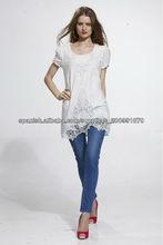 vestido de algodón larga bordada