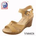 zapatos de las mujeres de la PU de tacón de cuña de impresión de la sandalia
