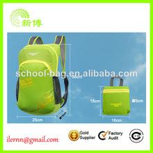 venta caliente de la manera promocional barato mochila plegable verde