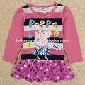 ( h5135) niños al por mayor de primavera/otoño mangas largas peppa pig vestidos de niña nuevo 2014 vestido de dibujos animados