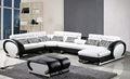 Moderno hotel sofás en forma de U sofá esquinero conjunto con un portavasos, cuero de grano superior pero precio bajo Sofa Set 8