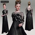 dorisqueen nueva llegada una línea original diseño magnífico negro ver a través de 2014 manga larga vestidodenoche