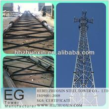 caliente de acero galvanizado por inmersión en telecomunicaciones gsm 3 pierna tubo de la torre